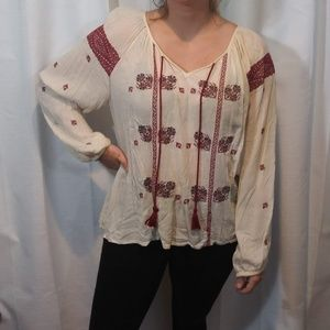 Denim & Supply Ralph Lauren Cream Red Peasant Top
